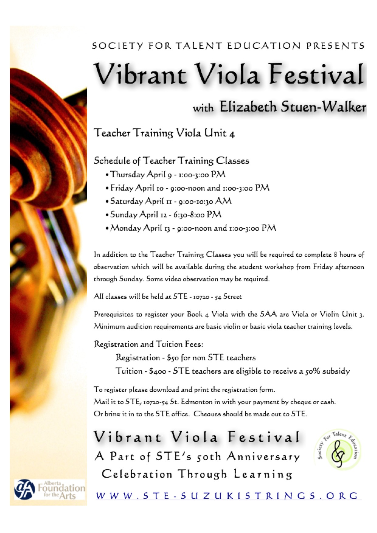 vibrant viola festival teacher training notice